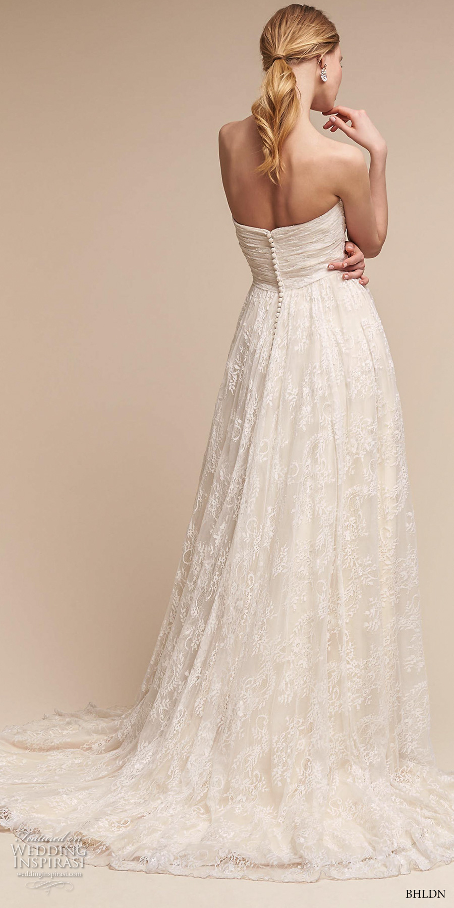 bhldn spring 2017 bridal strapless wrap over ruched bodice romantic a line wedding dress short train (freesia) bv