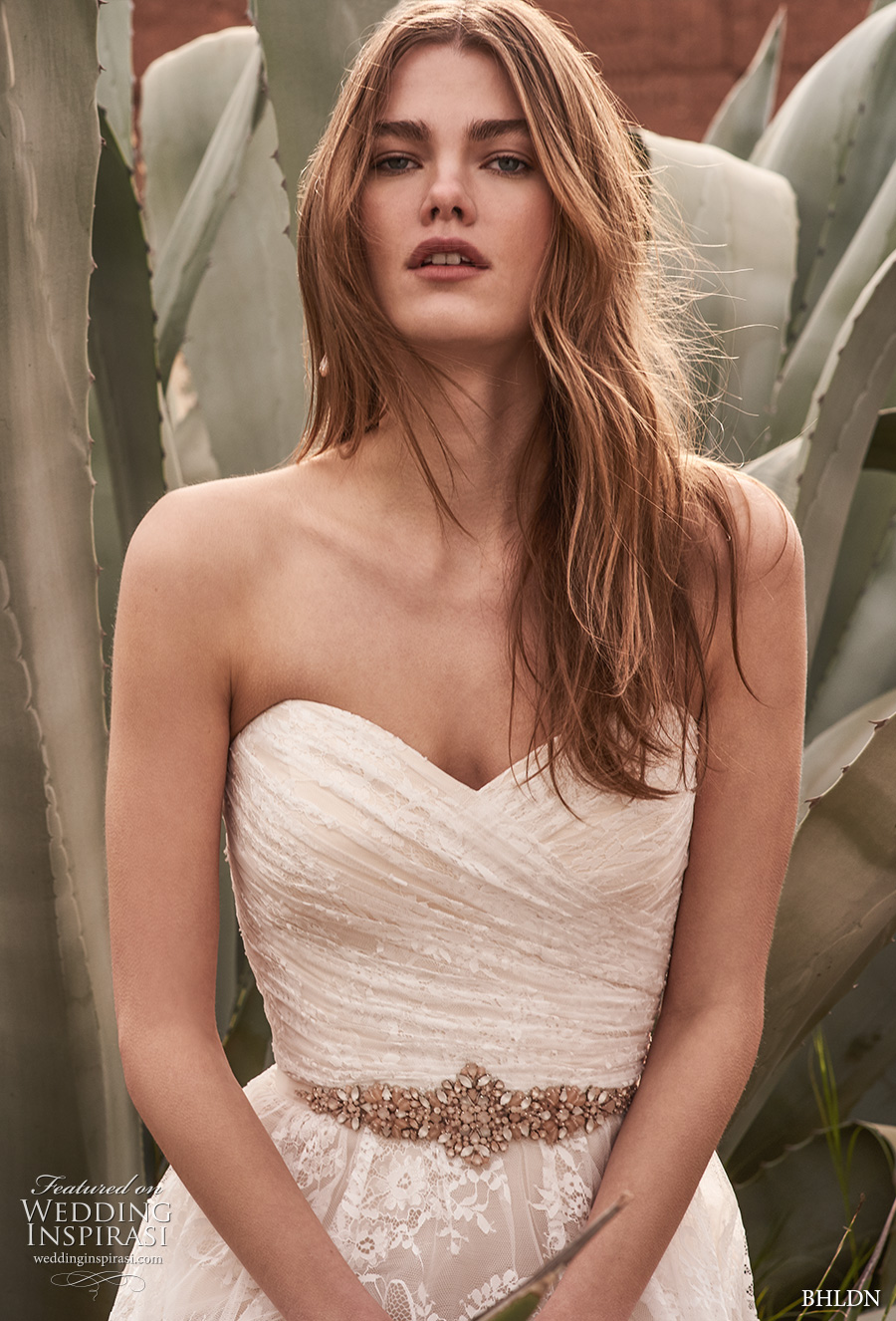 bhldn spring 2017 bridal strapless wrap over ruched bodice romantic a line wedding dress short train (freesia) zv
