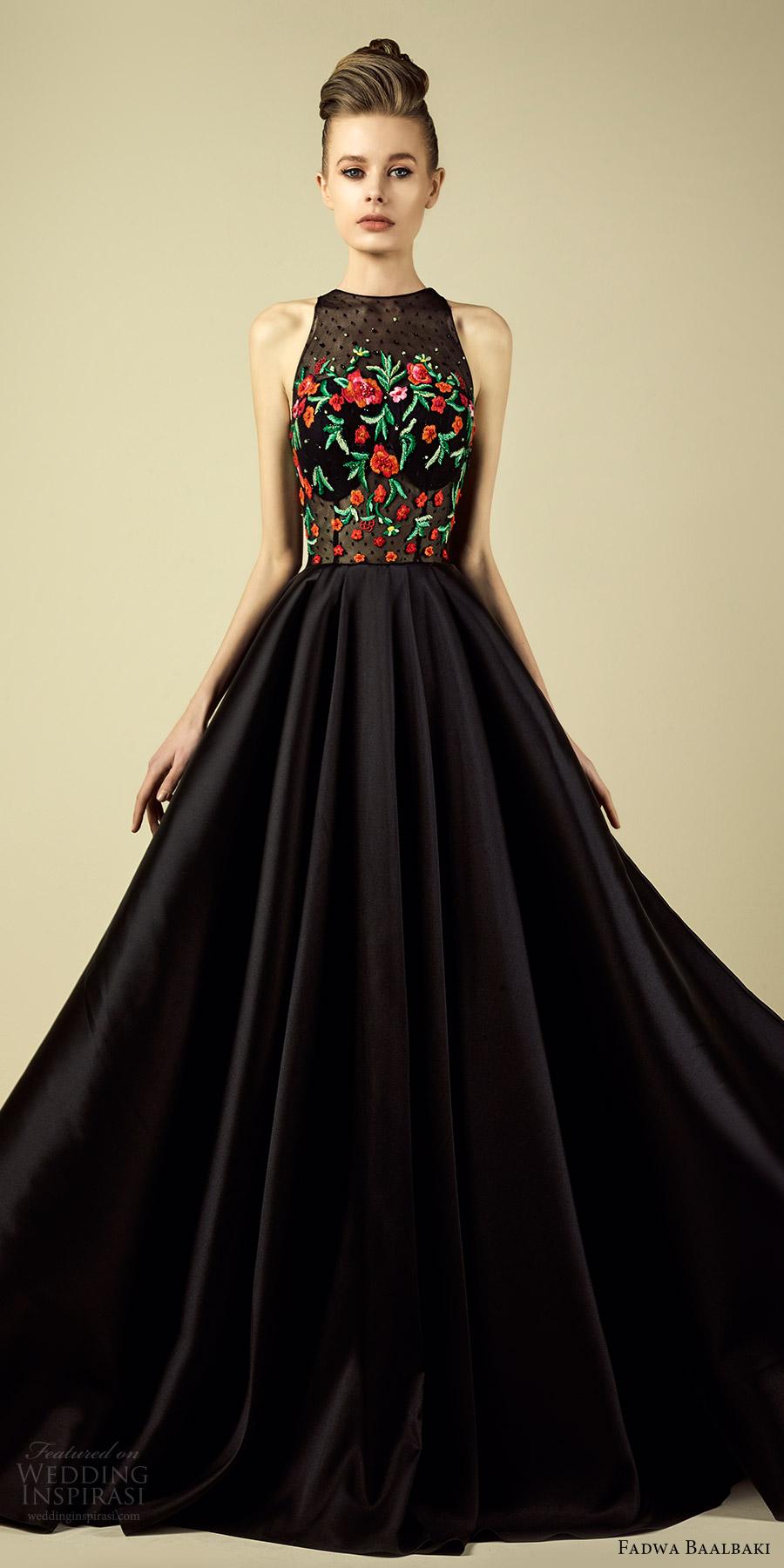 fadwa baalbaki spring 2017 couture sleeveless high nek embroidered bodice a line black dress (10) mv