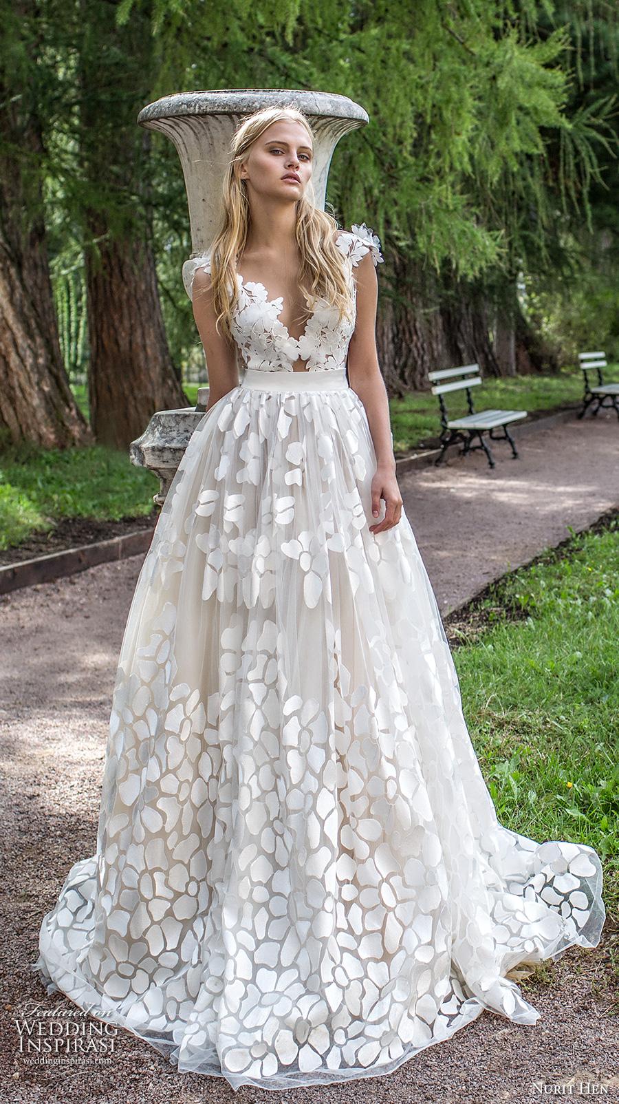 nurit hen 2017 bridal cap sleeves deep v neck full embellishment romantic a line ball gown wedding dress open v back sweep train (1) mv