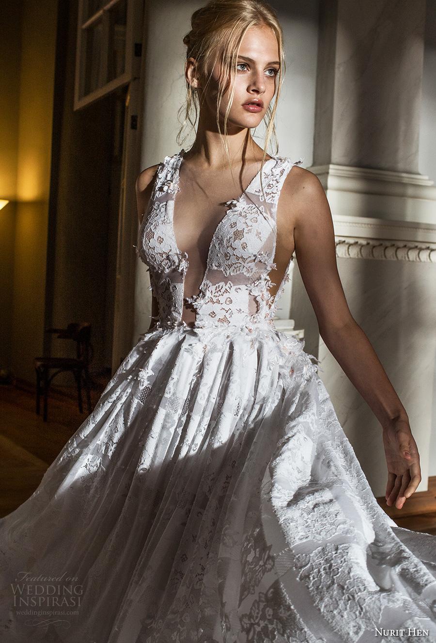 nurit hen 2017 bridal sleeveless deep v plunging v neck full embellishment romantic sexy a line wedding dress sheer back chapel train (4) zv