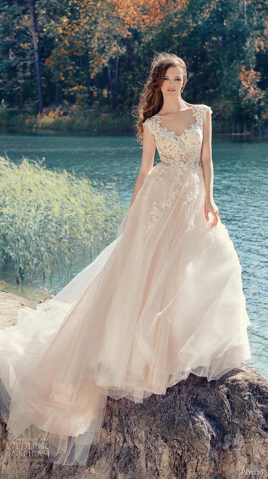 papilio 2017 bridal cap sleeves v neck heavily embellished bodice tulle skirt romantic blush color a line wedding dress open low v back royal train (hornbill) mv