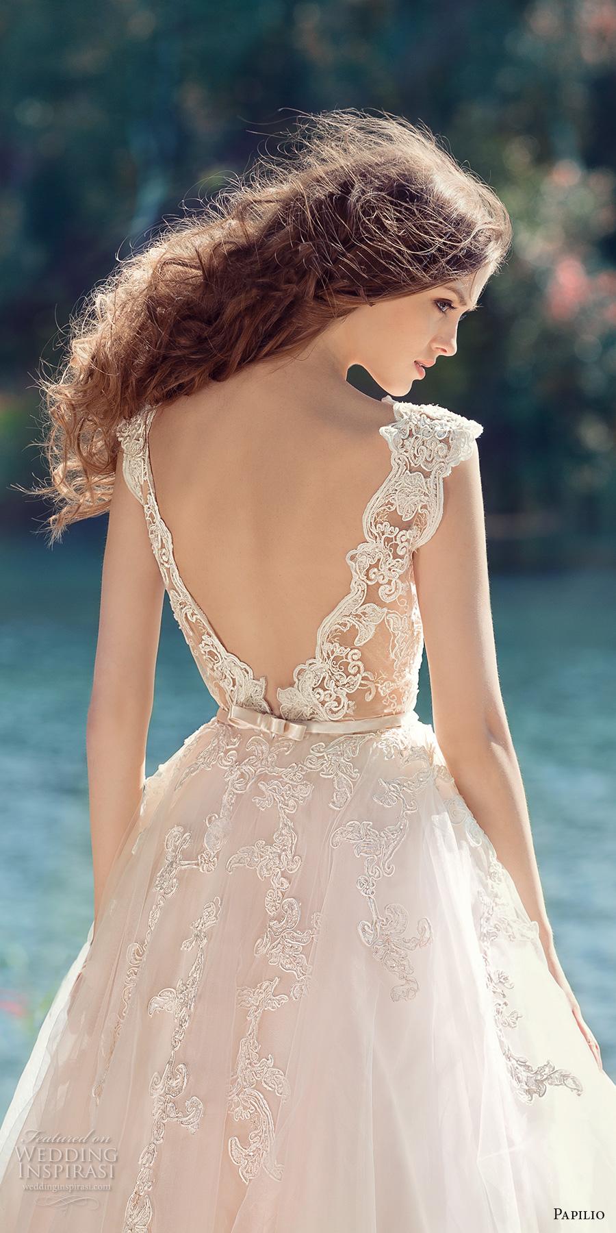 papilio 2017 bridal cap sleeves v neck heavily embellished bodice tulle skirt romantic blush color a line wedding dress open low v back royal train (hornbill) zbv