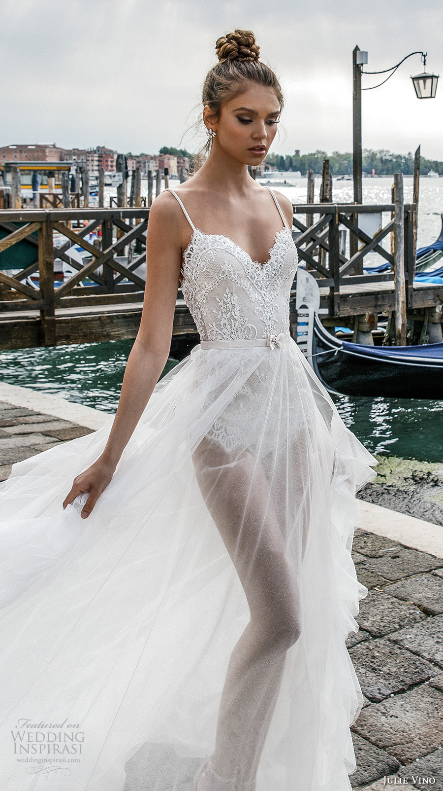 julie vino spring 2018 bridal spagetti strap sweetheart neckline heavily embellished bodice flowy tulle skirt romantic sexy a line wedding dress open scoop back chapel train (03) zv