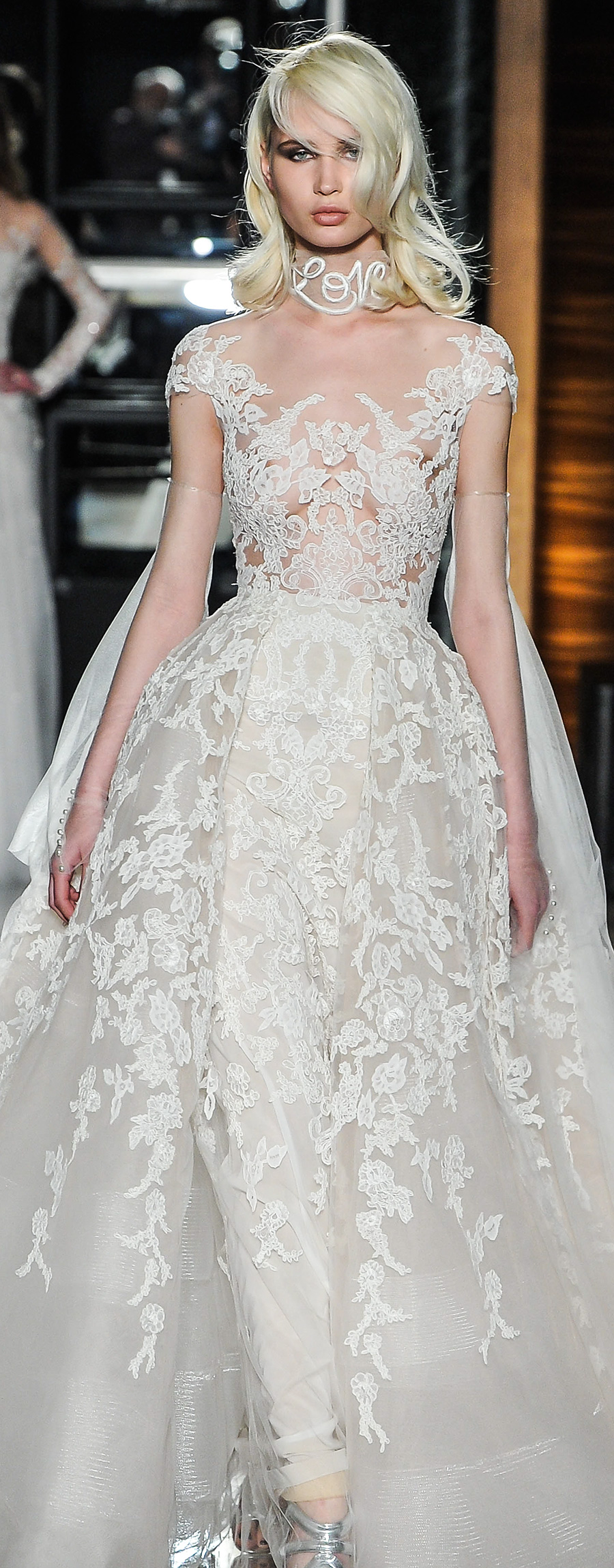 reem acra spring 2018 bridal cap sleeves scoop neckline full embellishment glamorous princess ball gown wedding dress lace back chapel train (19couture) zv