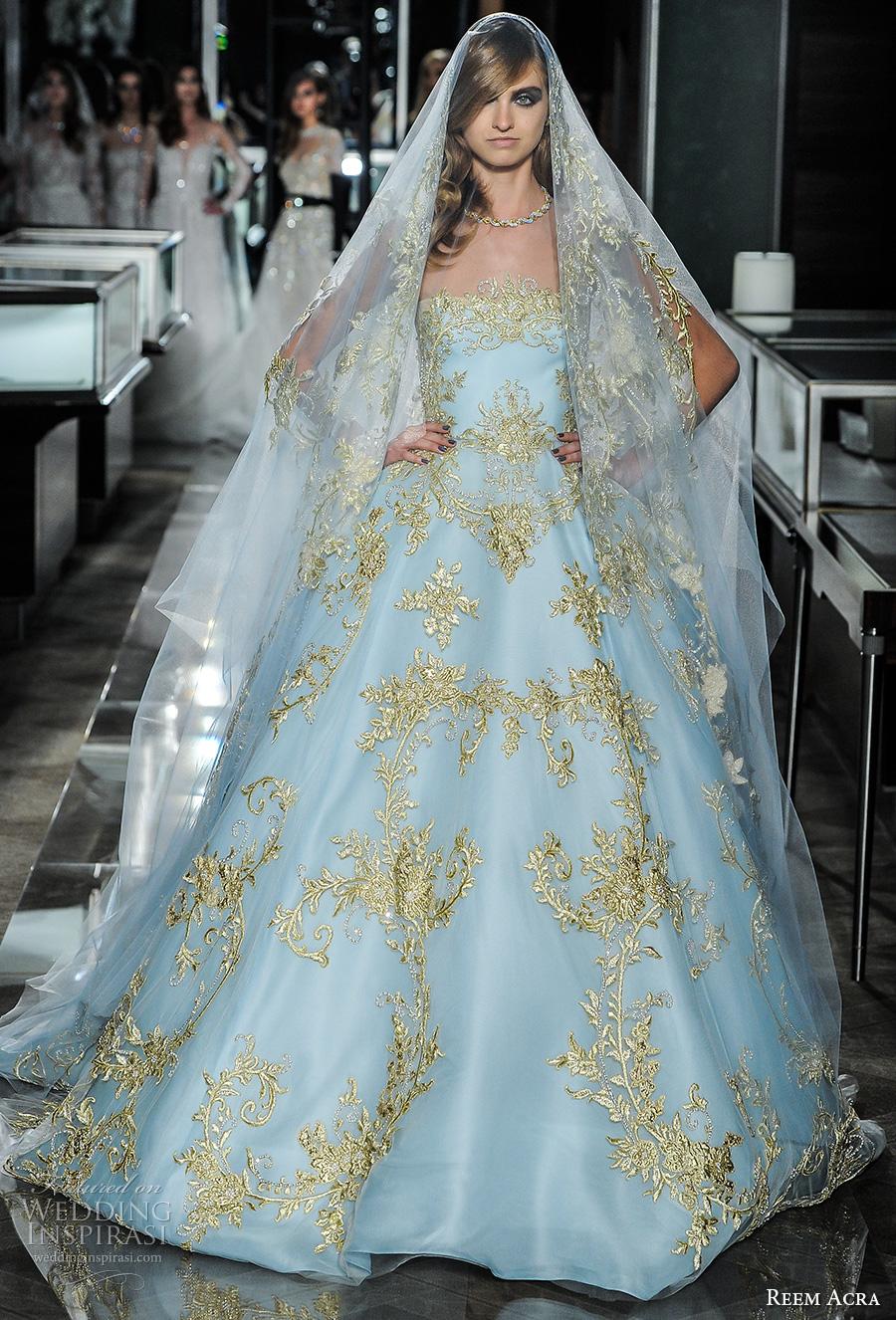 reem acra spring 2018 bridal strapless straight across full embellishment blue color princess ball gown wedding dress chapel train (24couture) mv