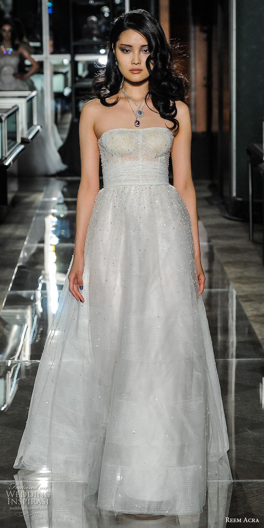 reem acra spring 2018 bridal strapless straight across neckline light embellishment tulle skirt romantic a line wedding dress short train (18couture) mv