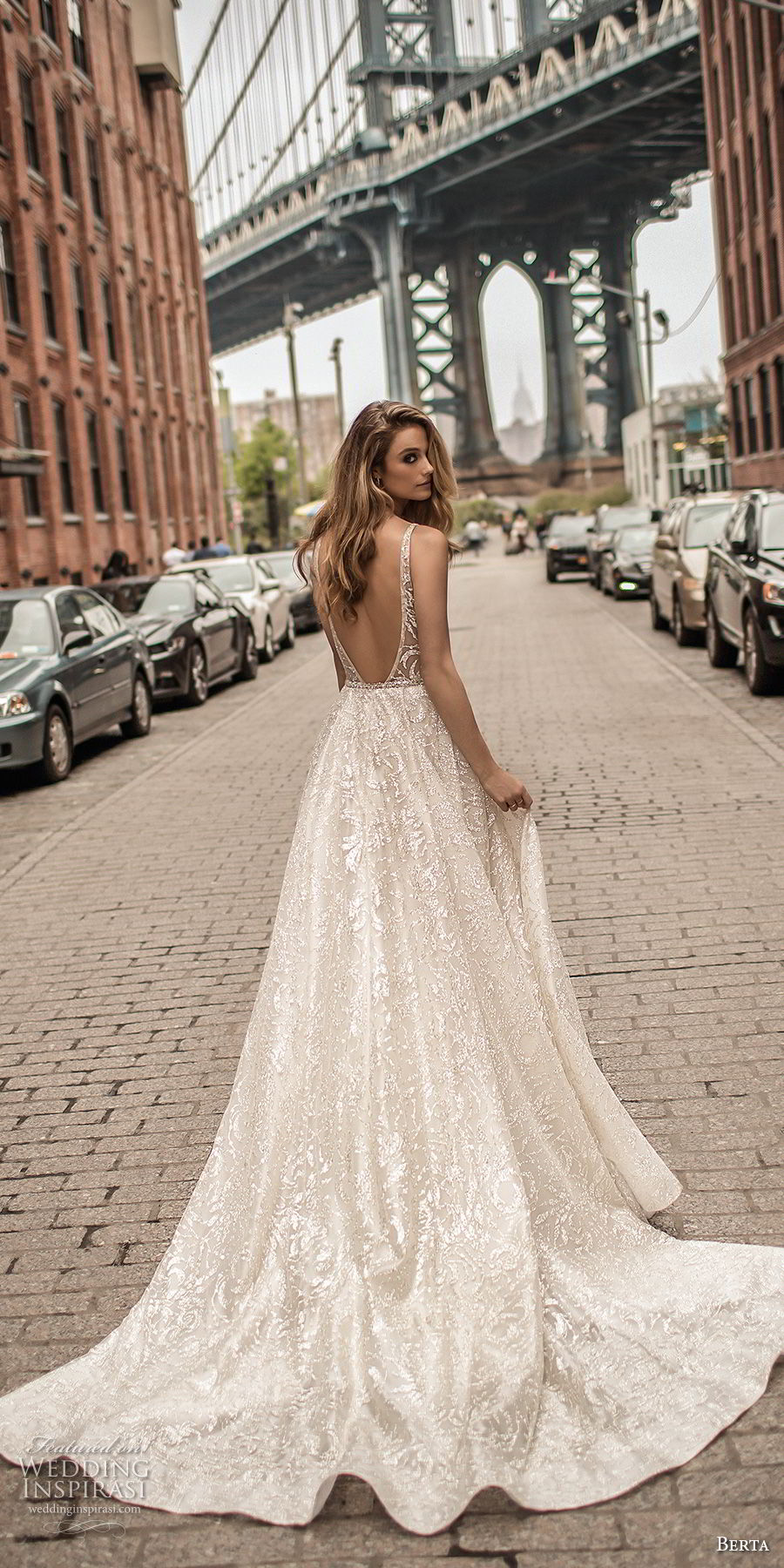 berta spring 2018 bridal sleeveless deep plunging v neck full embellishment sexy romantic a line wedding dress pockets open scoop back chapel train (4) bv