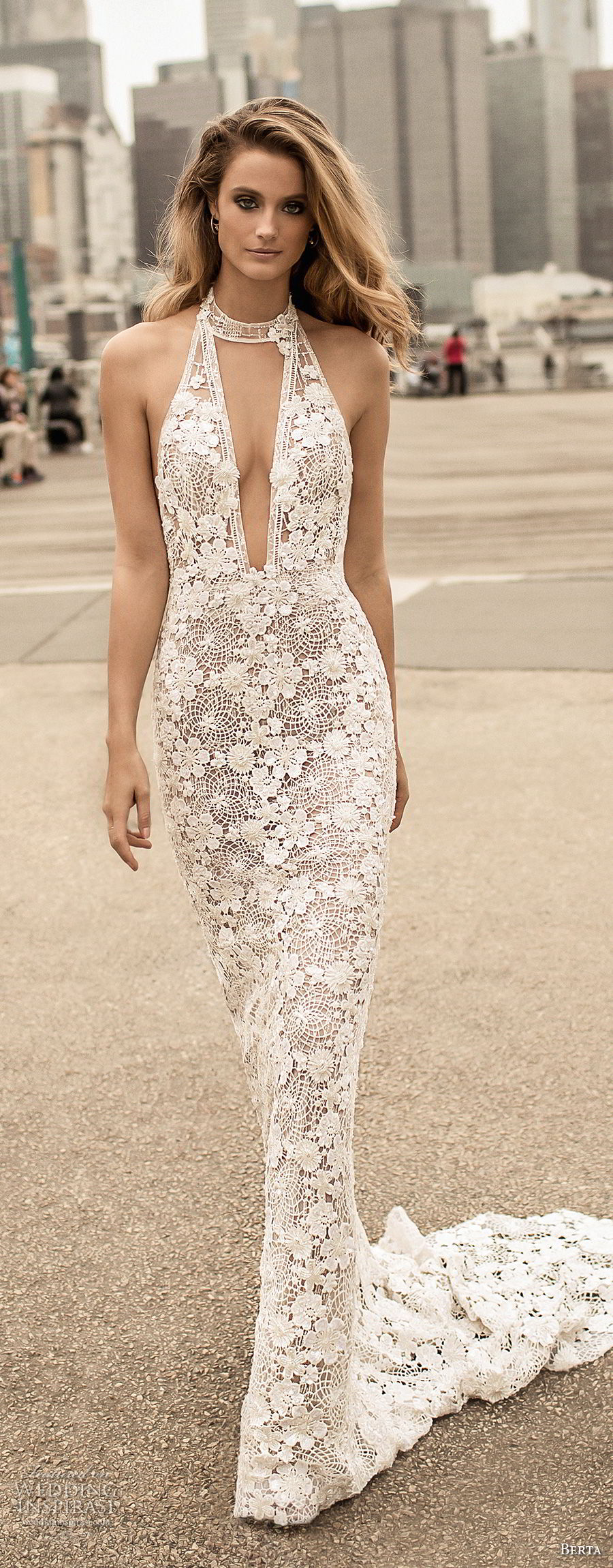 berta spring 2018 bridal sleeveless halter neck deep plunging v neck full embellishment elegant sexy sheath wedding dress open back medium train (13) mv
