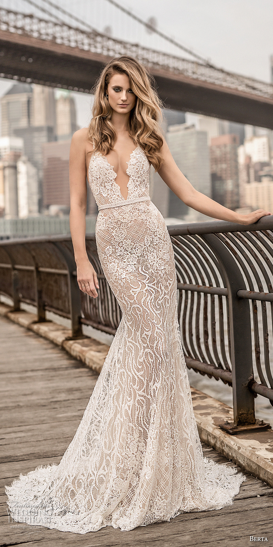 berta spring 2018 bridal spaghetti strap deep plunging sweetheart neckline full embellishment sexy elegant fit and flare wedding dress open scoop back chapel train (6) mv