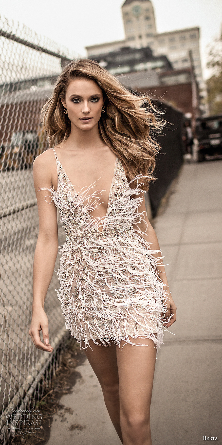 berta spring 2018 bridal spaghetti strap deep v neck full embellishment feather mini dress short wedding dress (16) zv