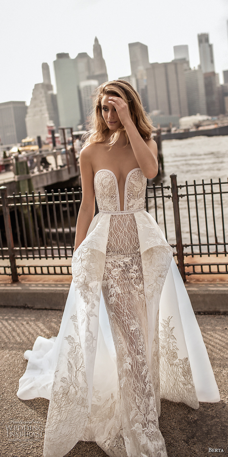 berta spring 2018 bridal strapless deep plunging sweetheart neckline full embellishment sexy romantic peplum a line wedding dress open back chapel train (9) mv