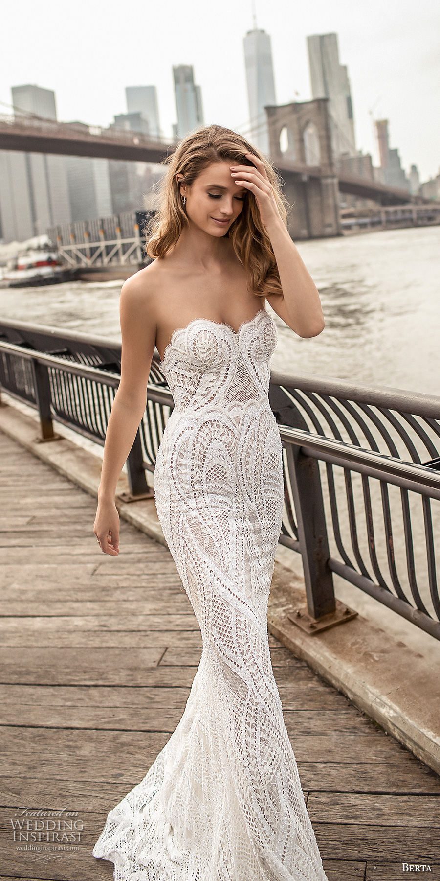 berta spring 2018 bridal strapless sweetheart neckline full embellishment elegant sexy sheath wedding dress poen back sweep train (11) zv