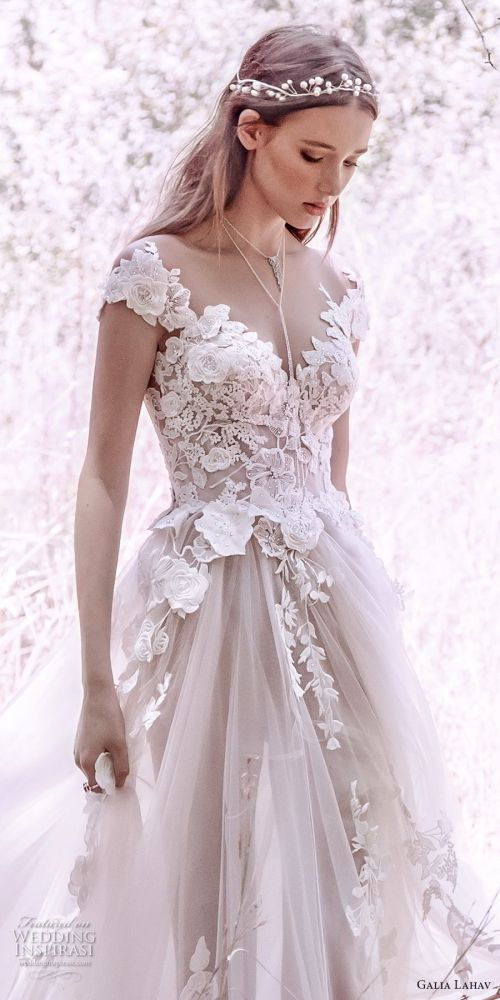 Examplary Galia Lahav Gala 4 2018 Bridal Cap Sleeves Heart Neckline Heavily Embellished Bodice Tulle Skirt Romantic Princess A Line Wedding Dress Mid Lace Back Royal Train 902 Zv