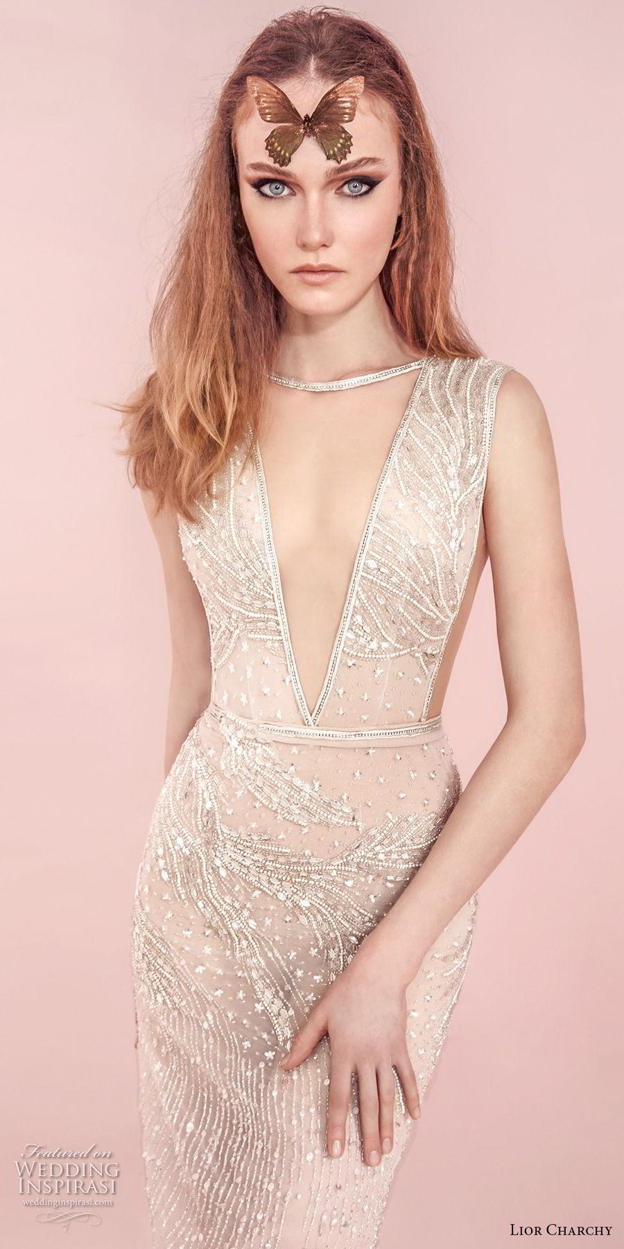 lior charchy spring 2017 bridal sleeveless deep v neck full embellishment sexy elegant sheath wedding dress (5) mv