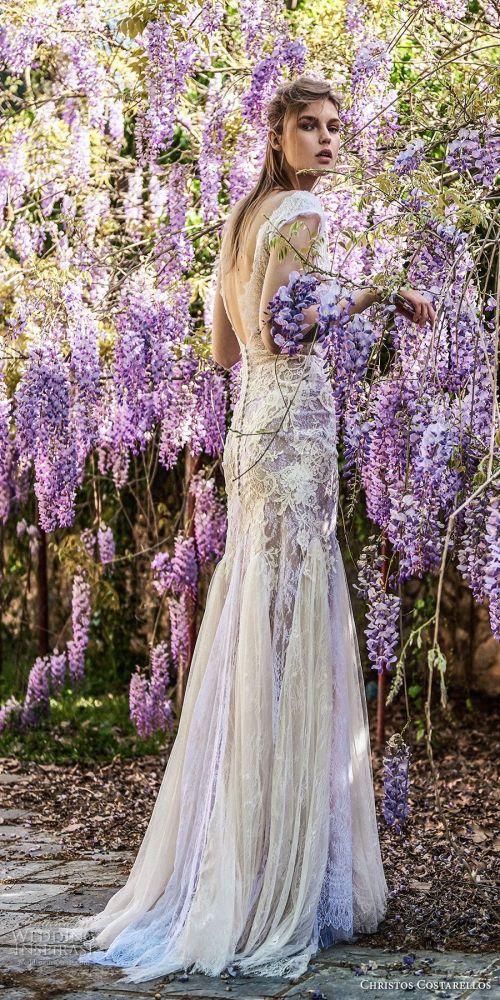 Pretentious Sale Bonnie Lavender Wedding Dress Christos Costarellos Spring 2018 Bridal Cap Sleeves Full Lace Embellishment Fit Flare Wedding Dress Open V Back Sweep Train 36 Bv Mv Lavender Wedding Dre