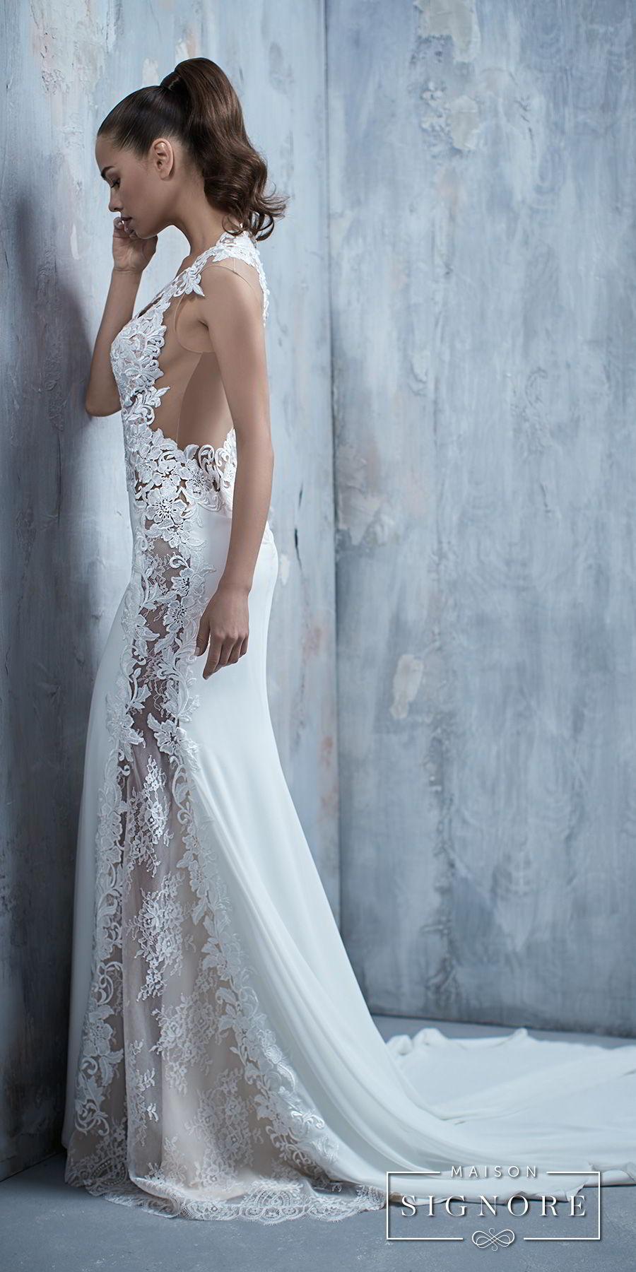 maison signore 2018 bridal cap sleeves deep v neck heavily embellished elegant fit and flare wedding dress chapel train (tessa) sdv