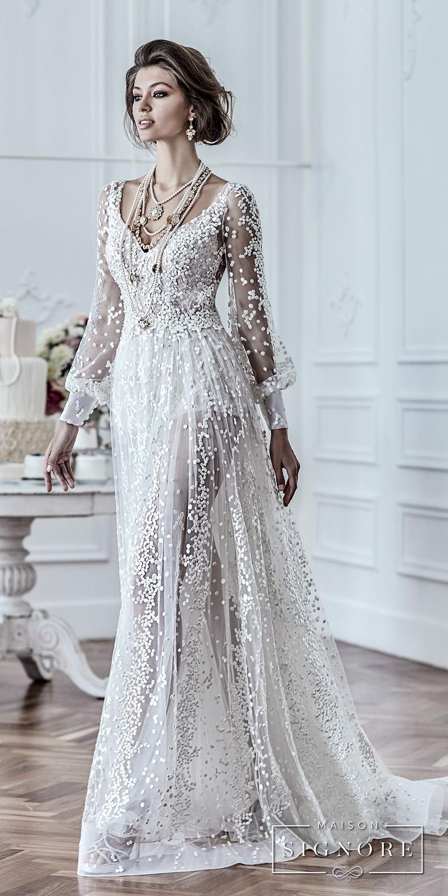 maison signore 2018 bridal long sleeves v neck full embellishment elegant a line wedding dress open back sweep train (drusilla) mv fv