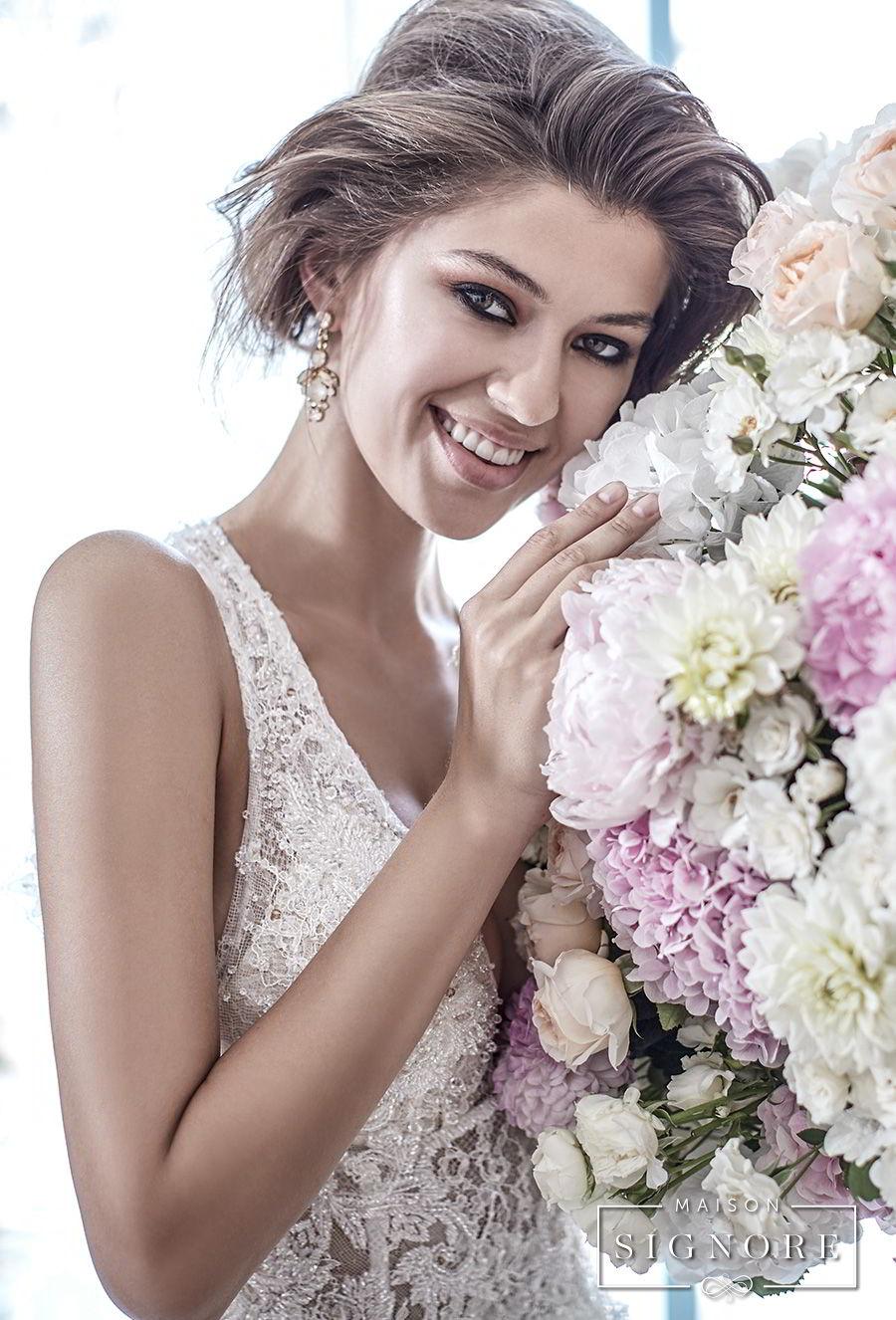 maison signore 2018 bridal sleeveless deep plunging sweetheart neckline full embellishment elegant romantic a line wedding dress open back chapel train (doris) zv