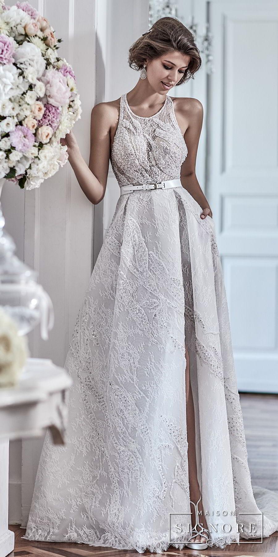 maison signore 2018 bridal sleeveless halter jewel neck full embellishment elegant a line wedding dress with pocket cross strap back chapel train (demy) mv fv