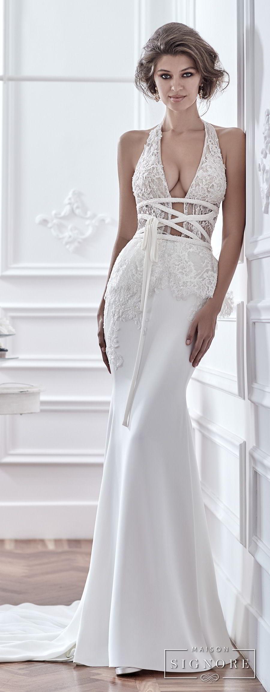 maison signore 2018 bridal sleeveless halter neck deep plunging v neck heavily embellished bodice elegant sexy fit and flare sheath wedding dress medium train (dafne) mv