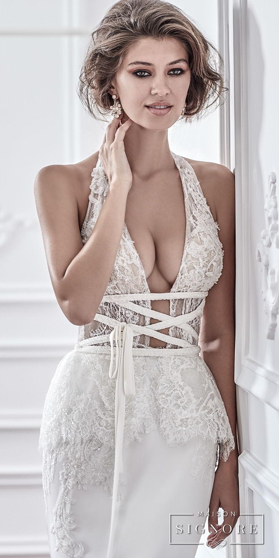 maison signore 2018 bridal sleeveless halter neck deep plunging v neck heavily embellished bodice elegant sexy fit and flare sheath wedding dress medium train (dafne) zv