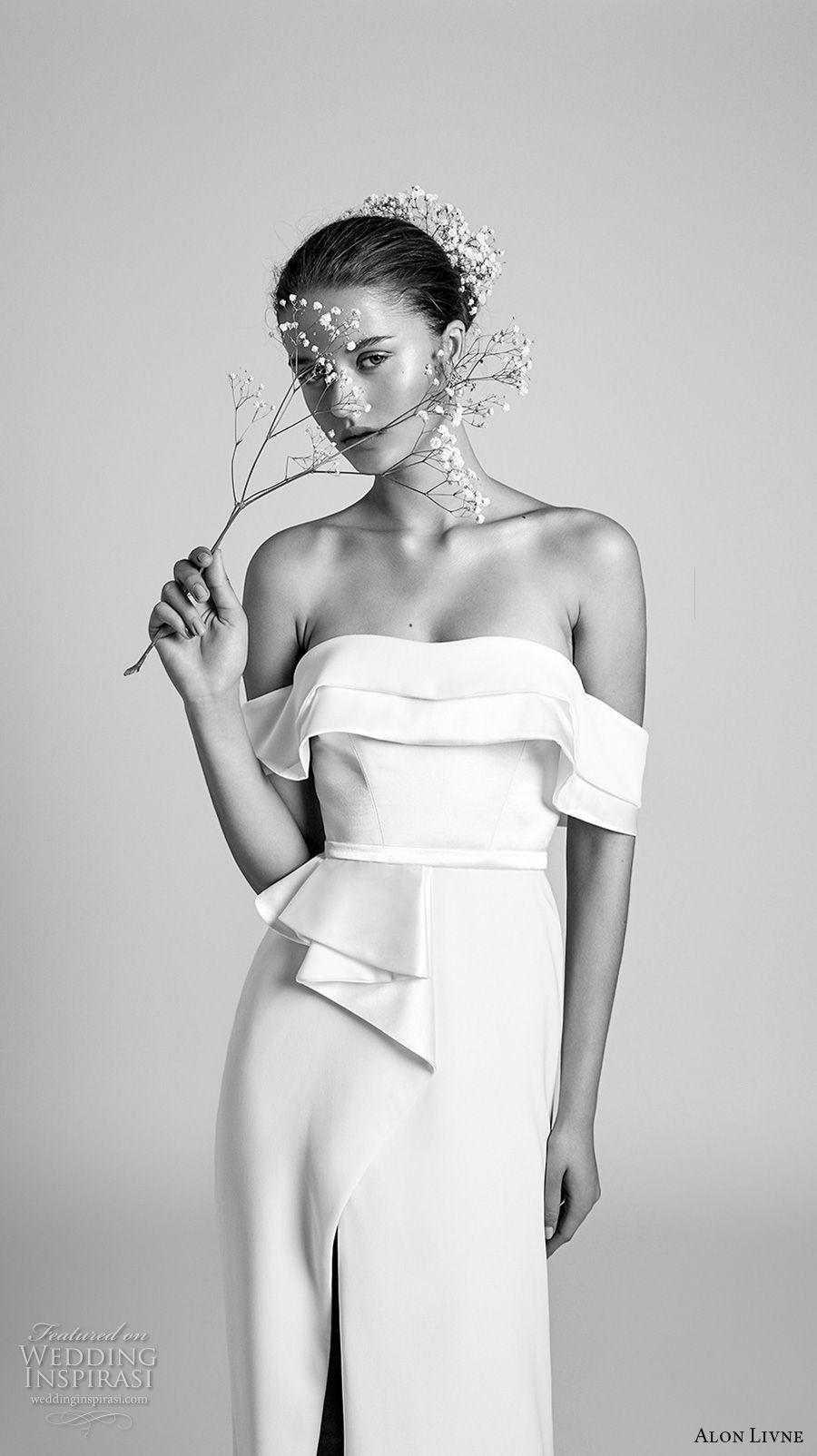 alon livne 2018 bridal off the shoulder straight across neckline simple clean sophiscated chic sheath wedding dress (2) mv
