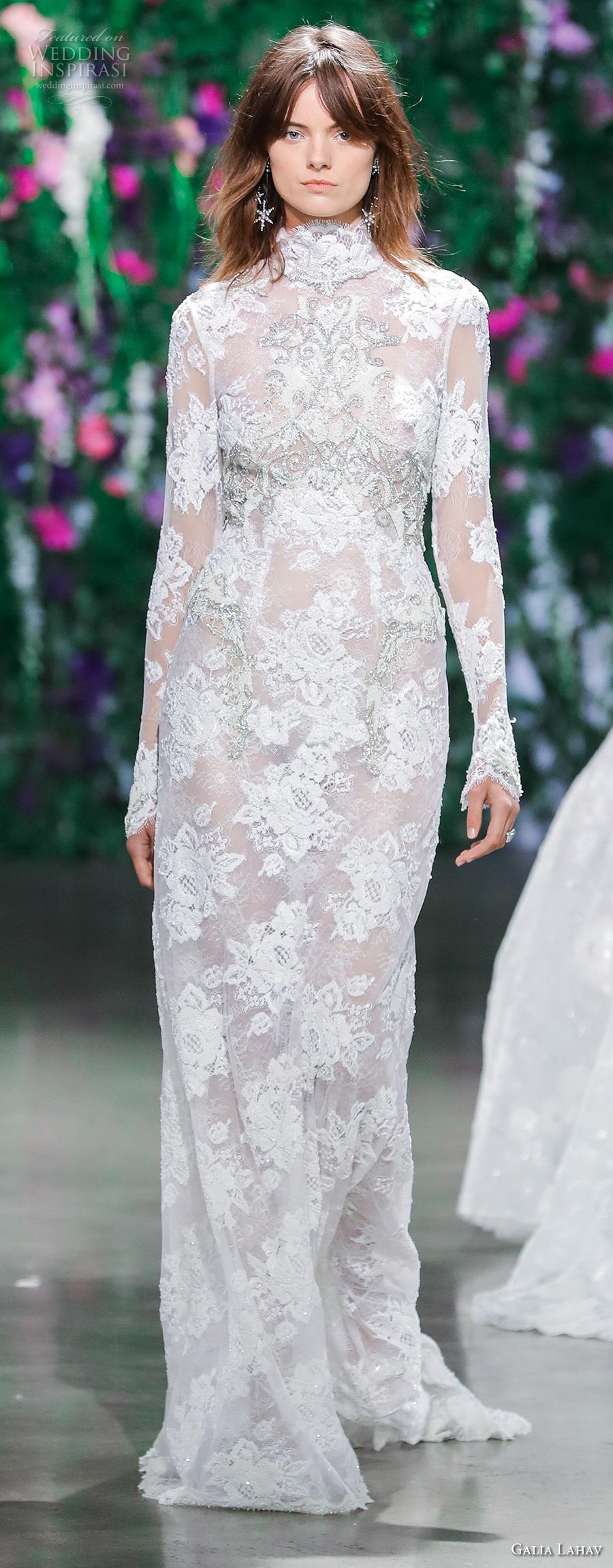 galia lahav fall 2018 bridal long sleeves high neck full embellishment elegant modest sheath wedding dress (16) mv