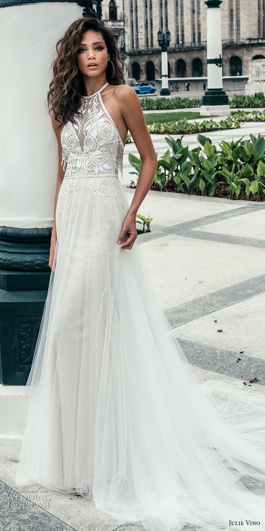 julie vino fall 2018 havana sleeveless jewel halter neck heavily embellised bodice elegant romantic soft a line wedding dress open back chapel train (3) mv