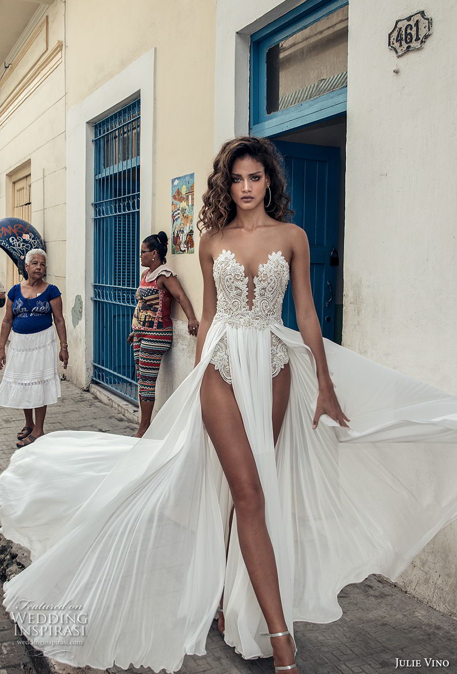 julie vino fall 2018 havana strapless deep plunging sweetheart neckline heavily embellished bodice double slit skirt sexy romantic soft a line wedding dress sweep train (1) mv