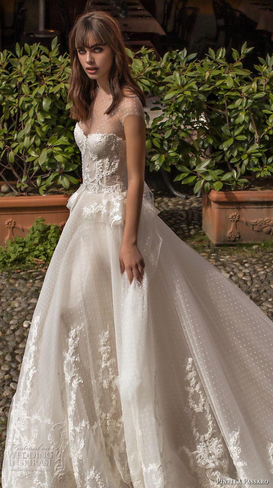 pinella passaro 2018 bridal cap sleeves illusion jewel sweetheart neckline heavily embellished bodice princess romantic ball gown a line wedding dress chapel train (4) zv