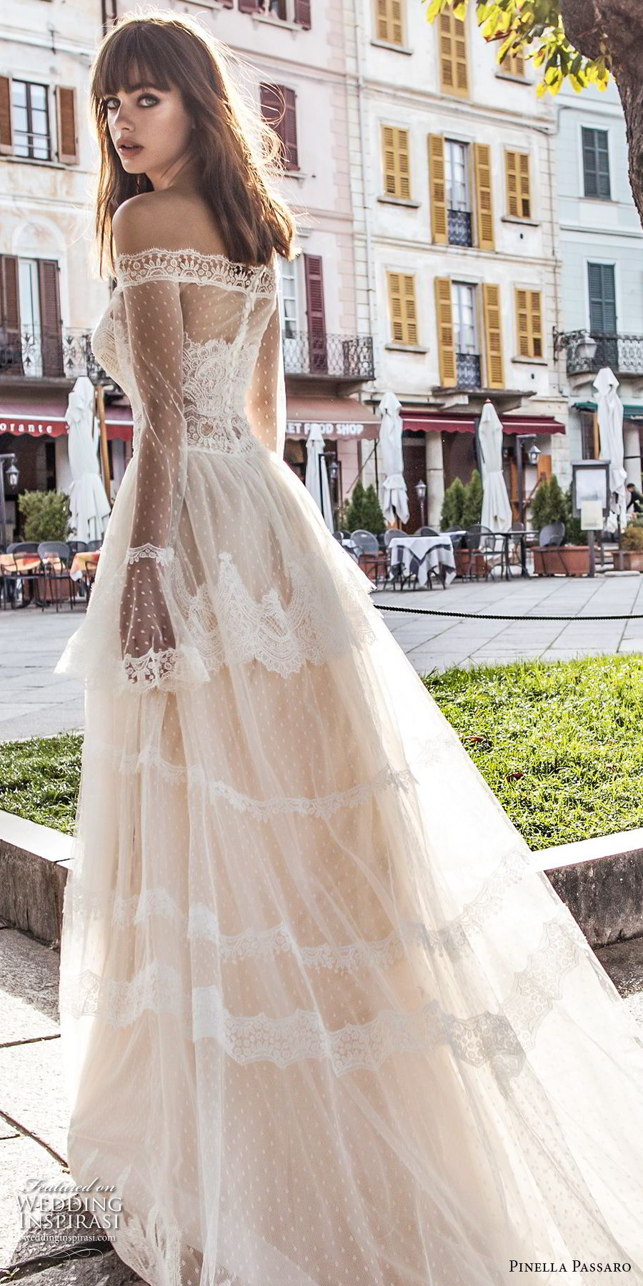 pinella passaro 2018 bridal off the shoulder long poet sleeves straight across neckline lace romantic a line wedding dress lace back chapel train (3) zbv