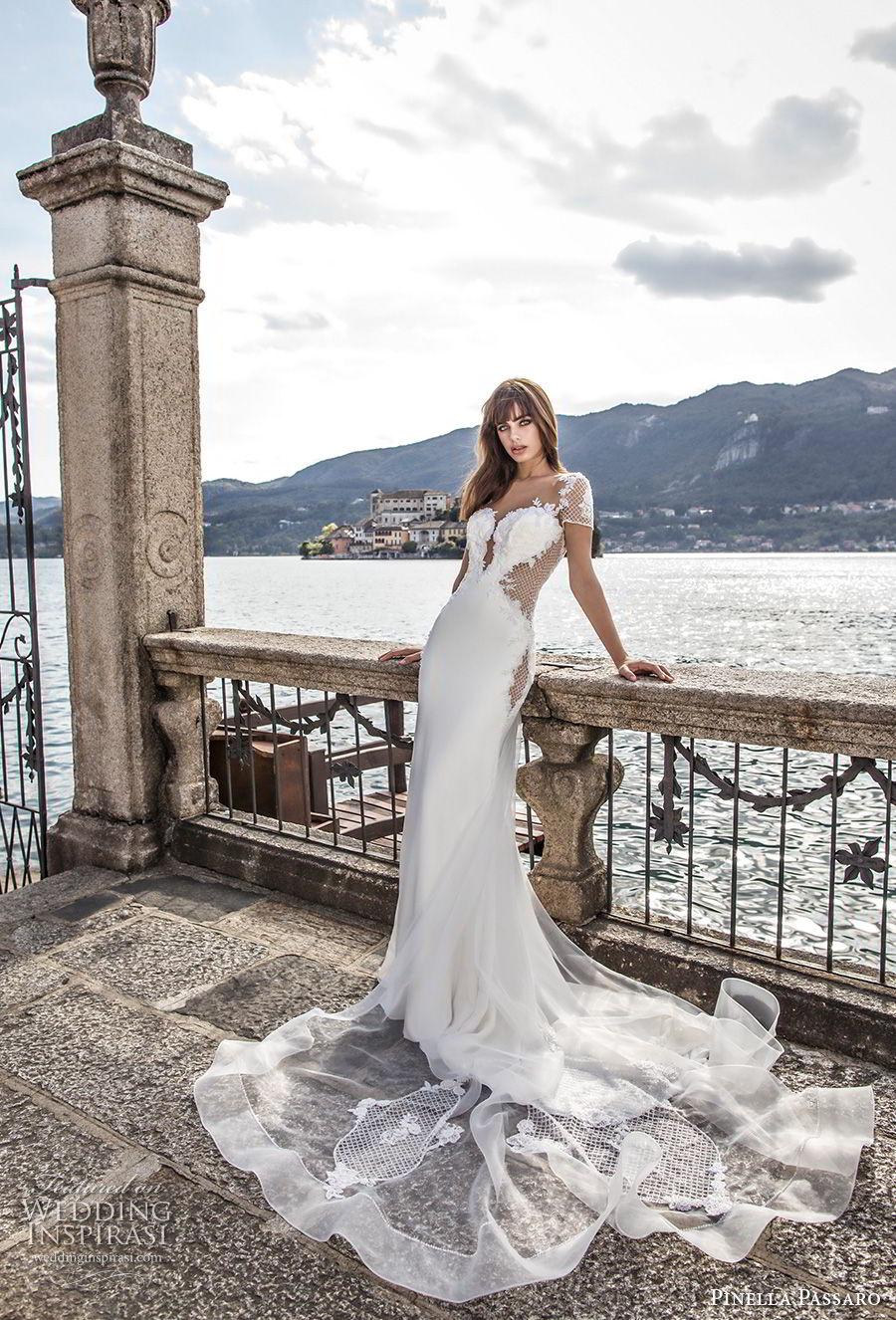 pinella passaro 2018 bridal short sleeves deep plunging sweetheart neckline heavily embellished bodice elegant sheath wedding dress open sheer back chapel train (6) mv