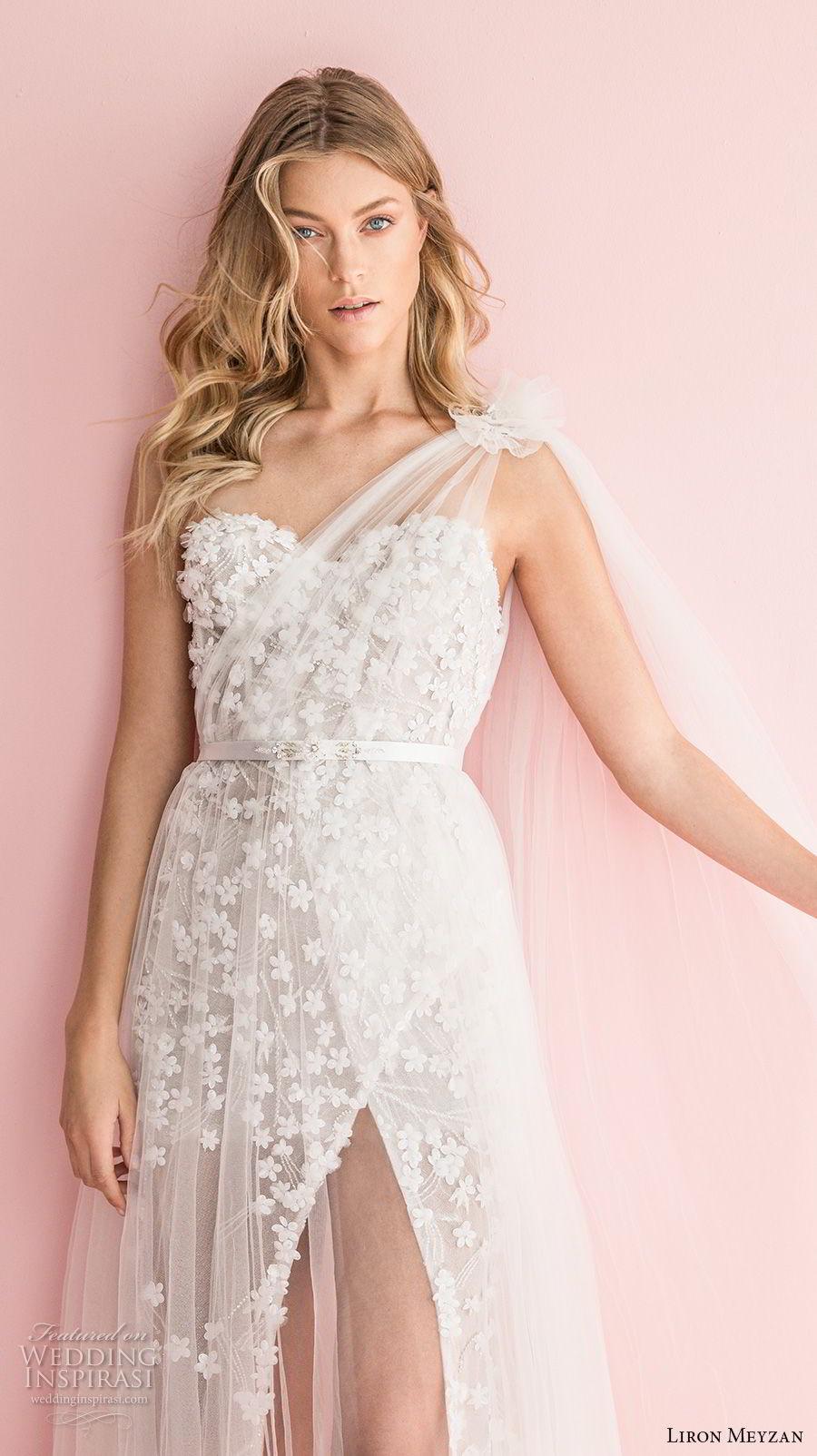 liron meyzan 2018 bridal one shoulder sweetheart neckline full embellishment high slit skirt modified a line wedding dress open back sweep train (2) zv