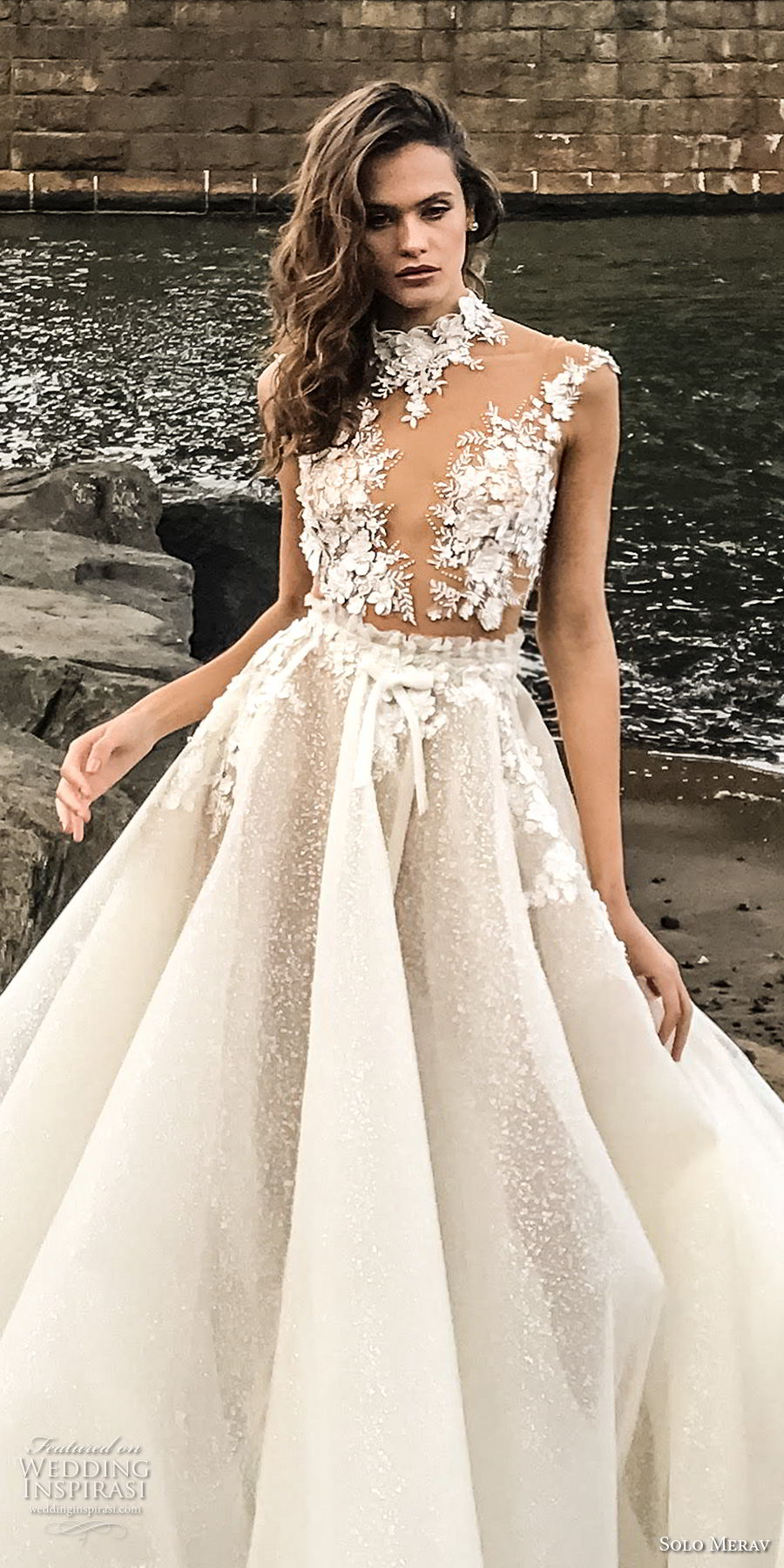 solo merav 2018 bridal cap sleeves high neck deep v neck heavily embellished bodice princess a line wedding dress sheer button back chapel train (1) zv