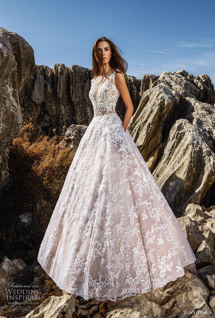 tony ward fall 2018 bridal sleeveless illusion bateau deep v neckline full embellishment romantic blush a line wedding dress with pockets sweep train (5) mv
