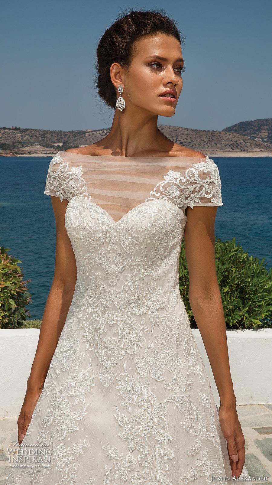 justin alexander 2018 bridal cap sleeves illusion bateau sweetheart neckline full embellishment romantic a line wedding dress sheer button back chapel train (2) zv