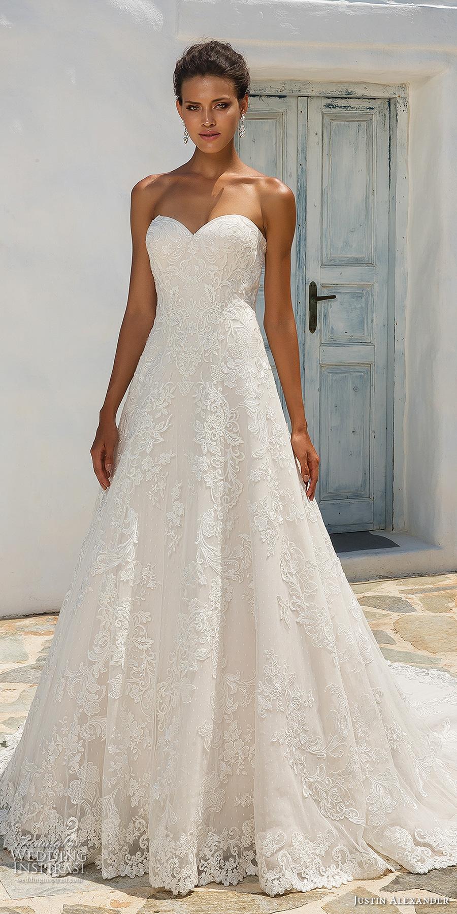 justin alexander 2018 bridal strapless sweetheart neckline full embellishment romantic a line wedding dress chapel train (1) mv