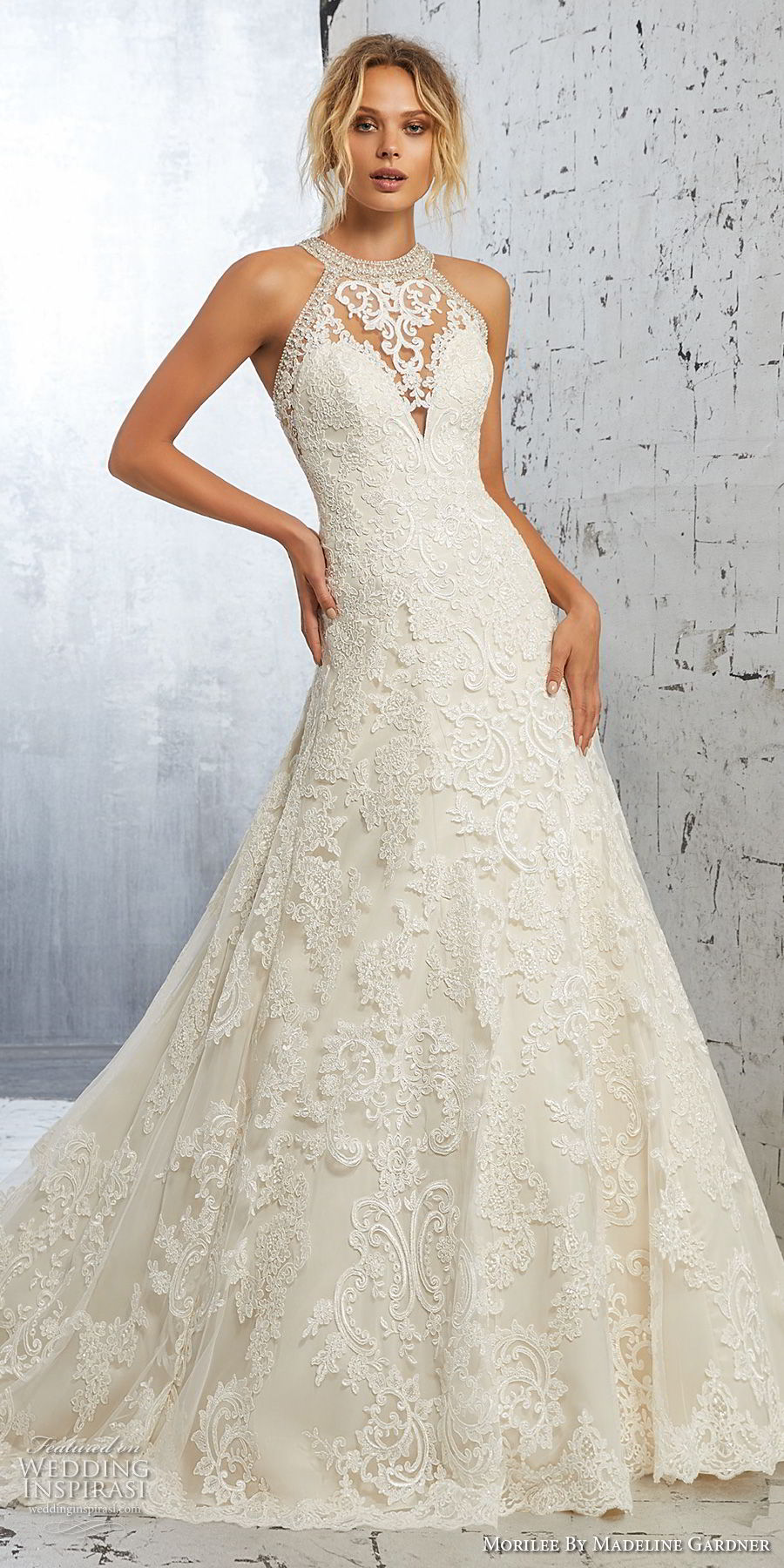 morilee 2018 bridal sleeveless halter jewel neck full embellishment elegant a line wedding dress sheer lace back long train (3) mv