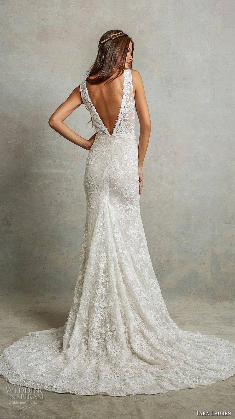 tara lauren spring 2018 bridal sleeveless deep v neck full embellishment elegant sheath wedding dress v back medium train (6) bv