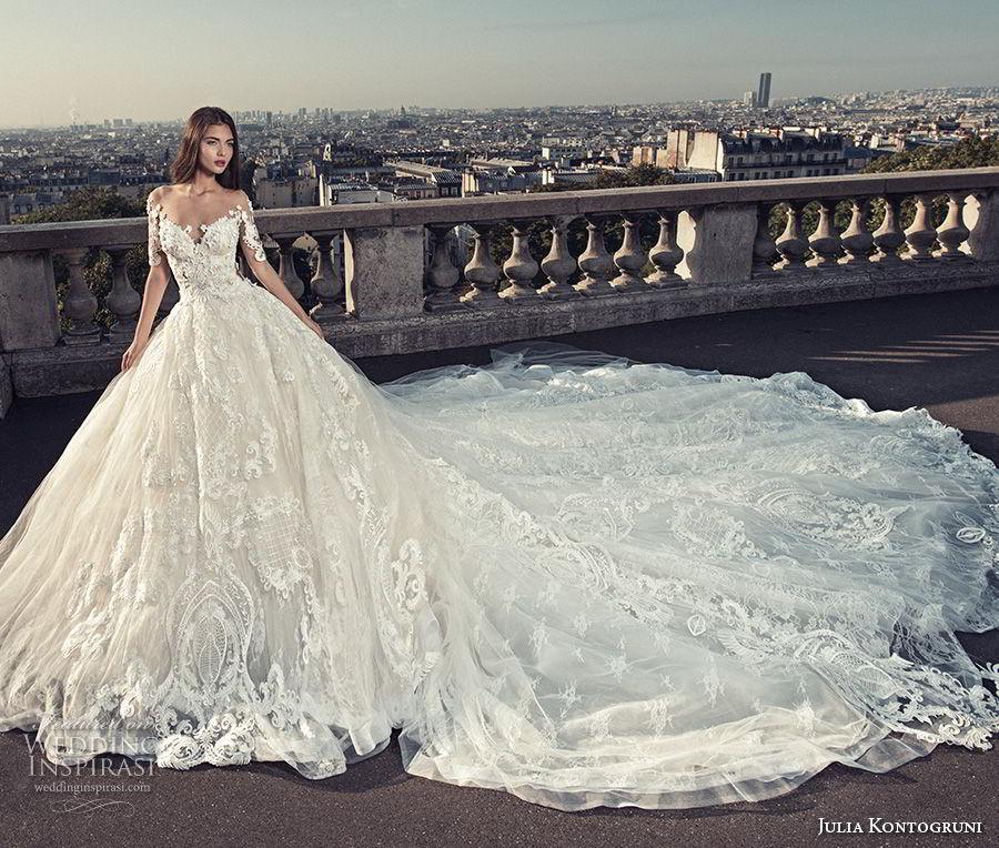 julia kontogruni 2018 bridal half sleeves off shoulder sweetheart neckline full embellishment princess ball gown wedding dress sheer lace back royal train (1) mv