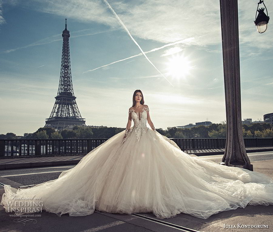 julia kontogruni 2018 bridal long sleeves deep plunging v neck heavily embellished bodice princess ball gown wedding dress open back royal train (2) mv