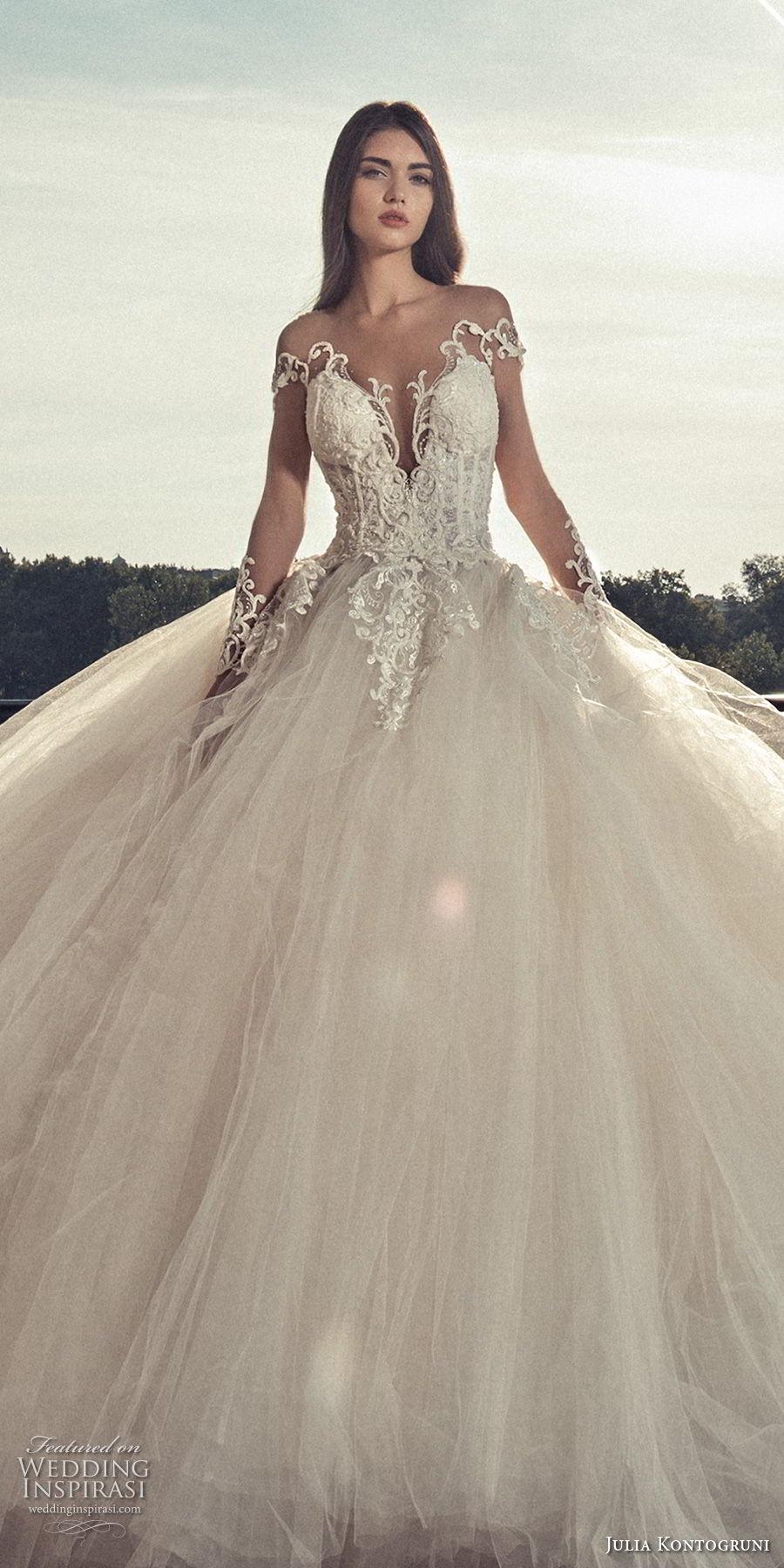 julia kontogruni 2018 bridal long sleeves deep plunging v neck heavily embellished bodice princess ball gown wedding dress open back royal train (2) zv