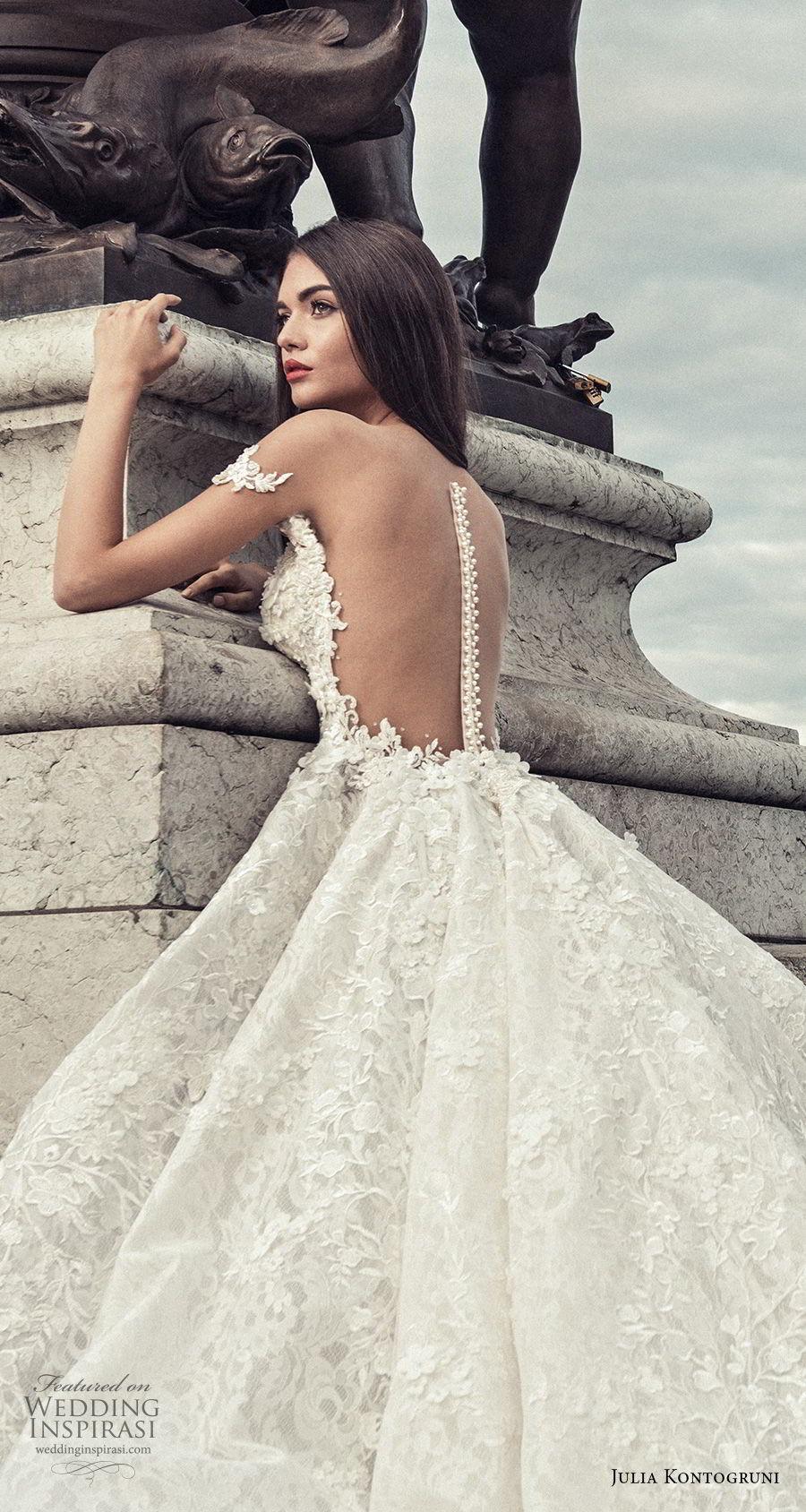 julia kontogruni 2018 bridal off the shoulder sweetheart neckline princess ball gown wedding dress sheer button back royal train (3) zbv