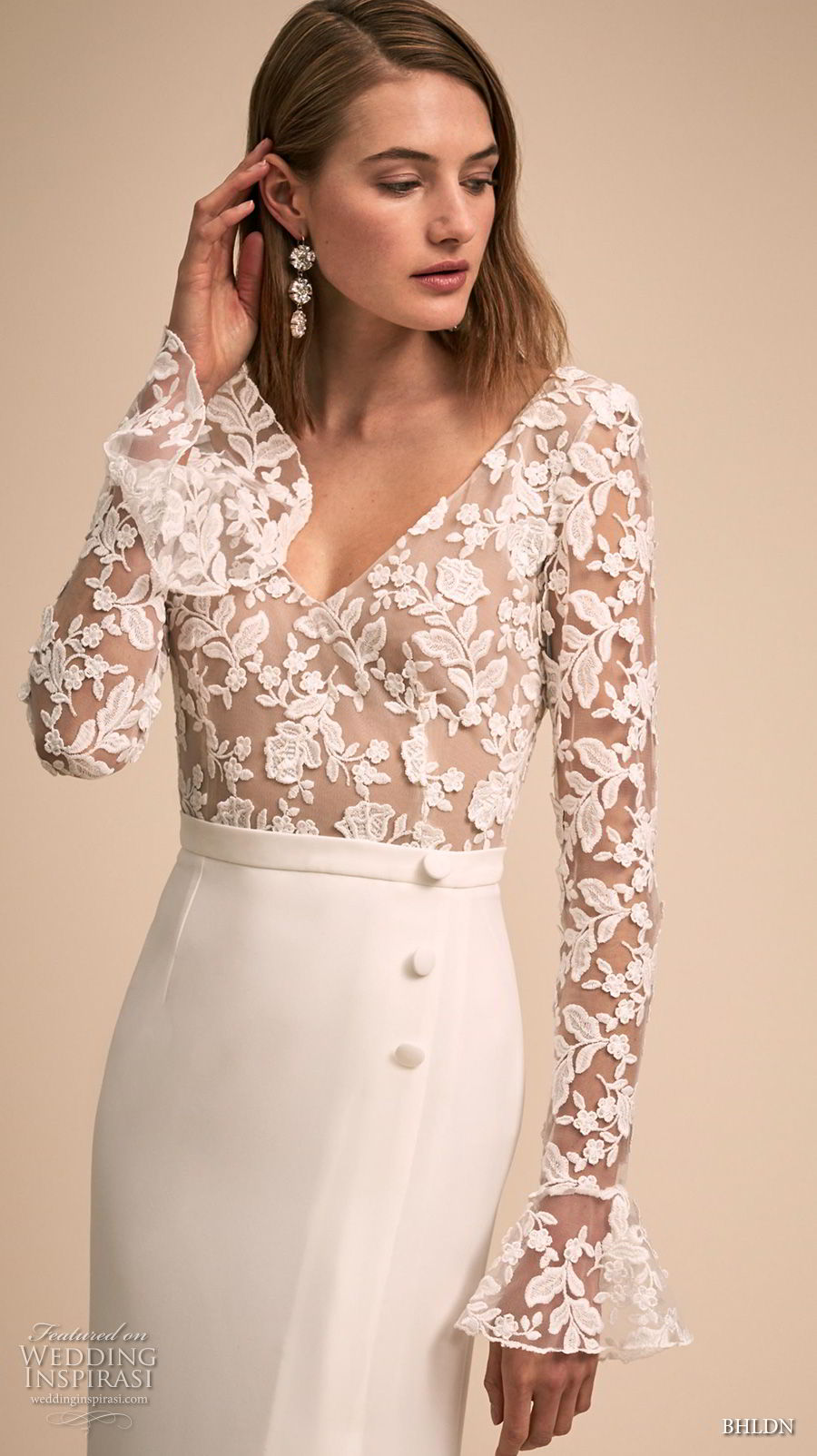 bhldn 2018 bridal long poet sleeves v neck heavily embellished bodice slit skirt elegant modified a line wedding scoop back dress sweep train (3) zv