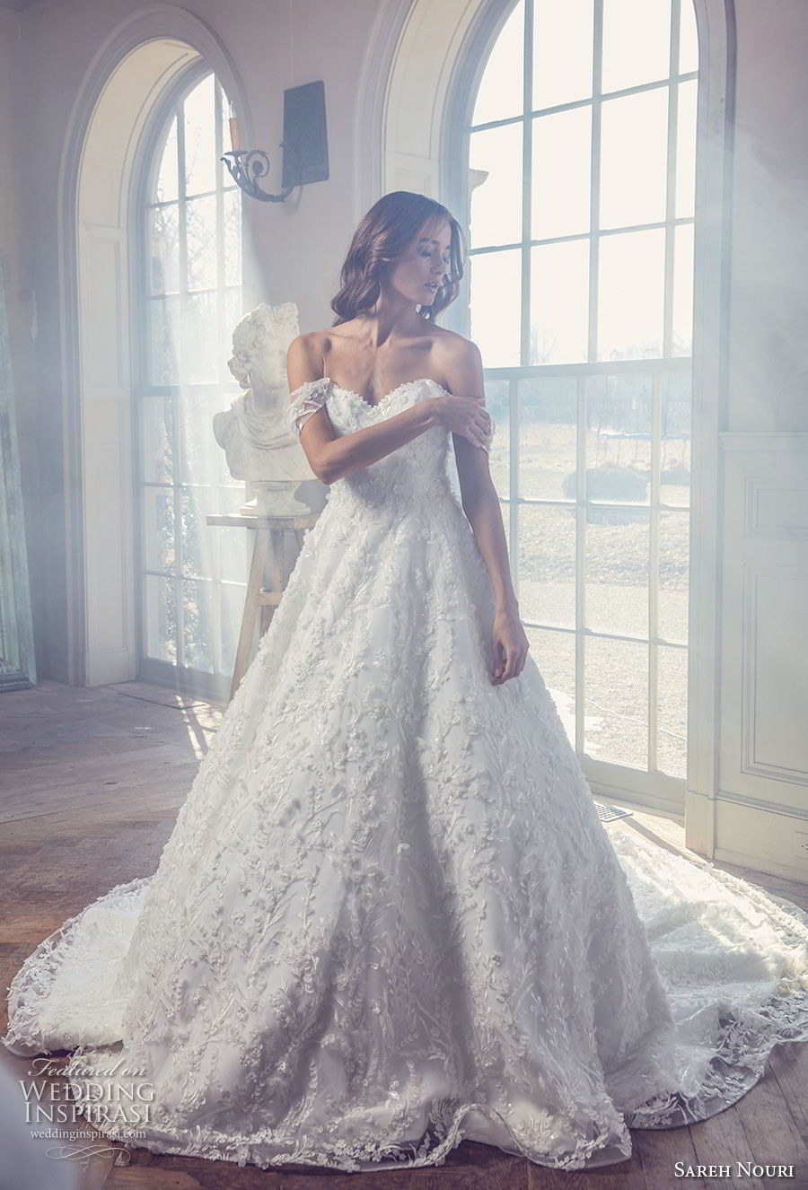 sareh nouri spring 2019 bridal offf the shoulder sweetheart neckline full embellishment romantic a line wedding dress chapel train (1) mv fv