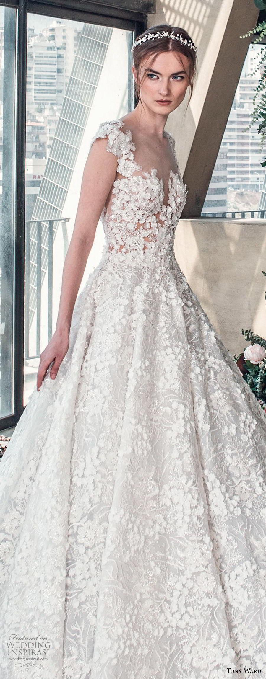 tony ward mariee 2019 cap sleeves sweetheart neckline full embellishment romantic princess ball gown a line wedding dress chapel train (6) zv