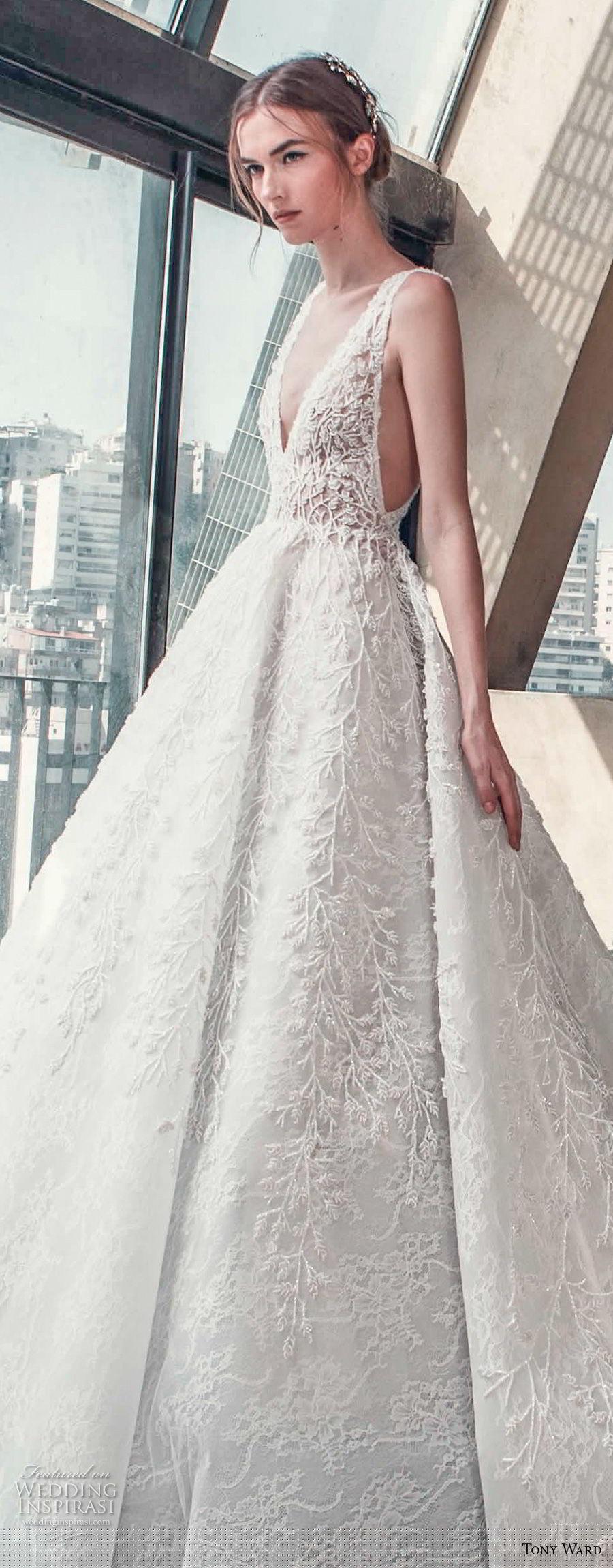 tony ward mariee 2019 sleeveless deep v neck full embellishment open side princess romantic a line wedding dress chapel train (4) zv