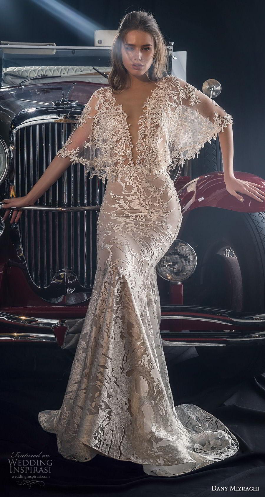 dany mizrachi fall 2018 bridal half butterfly sleeves sheer bateau deep v neckline full embellishment romantic bohemian fit and flare wedding dress v back chapel train (4) mv