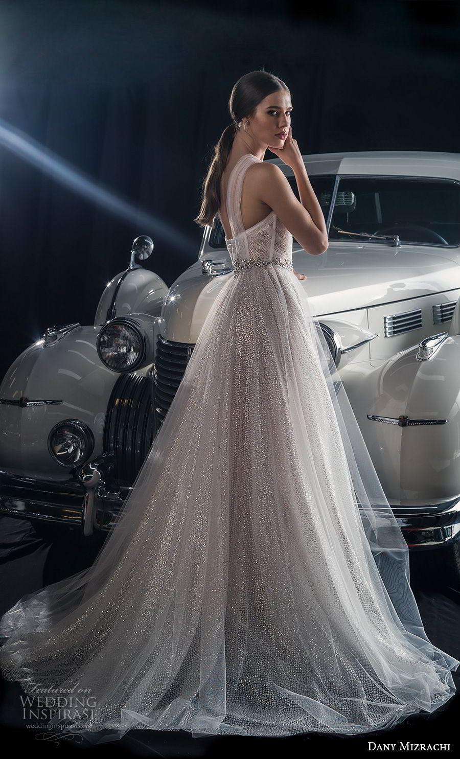 dany mizrachi fall 2018 bridal sheer one shoulder sweetheart neckline bustier full embellishment glitzy romantic a line wedding dress sweep train (3) bv
